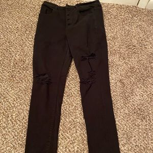 American eagle skinny ripped black jeans